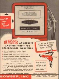bowser inc 1955 more dial space gasoline dispenser pumps vintage ad