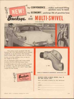 buckeye iron brass works 1955 convenience multi-swivel gas vintage ad