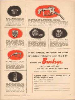 buckeye iron brass works 1955 valves fittings oil industry vintage ad