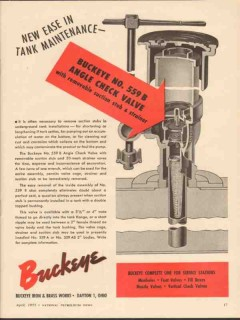 Buckeye Iron Brass Works 1955 Vintage Ad Oil Tank Maintenance Valve