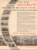 chicago vitreous corp 1955 lusterlite service station vintage ad