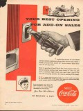 coca cola 1955 your best opening for add-on sales cooler vintage ad