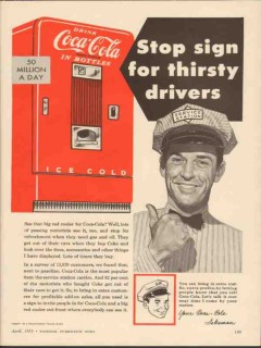 coca cola 1955 stop sign for thirsty drivers bottle cooler vintage ad