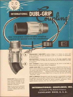 International Couplings Inc 1955 Vintage Ad Dubl-Grip Gabriel Company