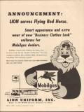 lion uniform inc 1955 serves flying red horse mobilgas vintage ad