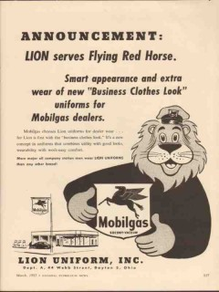 lion uniform inc 1955 serves flying red horse mobilgas vintage ad