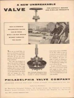 philadelphia valve company 1955 unbreakable asphalt resins vintage ad