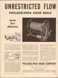 Philadelphia Valve Company 1955 Vintage Ad Hose Reel Unrestricted Flow