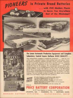 price battery corp 1955 pioneers private brand high quality vintage ad