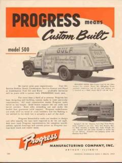 Progress Mfg Company 1955 Vintage Ad Oil Truck Schermerhorn LaSalle IL