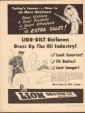 lion uniform inc 1952 lion-bilt dress up the oil industry vintage ad