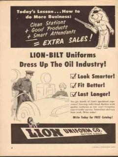 lion uniform inc 1952 lion-bilt dress up the oil industry vintage ad