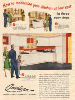 american central mfg company 1946 modern kitchen low cost vintage ad