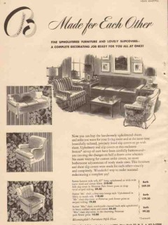 bloomingdales 1946 sutton upholstery slip covers furniture vintage ad