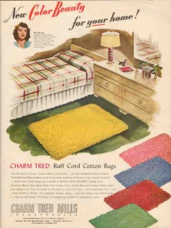 charm tred mills 1946 color beauty ruff cord cotton rugs vintage ad