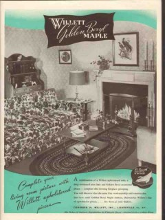 consider h willett inc 1946 golden burl maple upholstered vintage ad