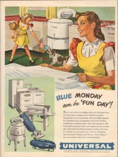 landers frary clark 1946 blue monday universal appliances vintage ad