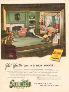 alexander smith carpet company 1947 live show window rugs vintage ad