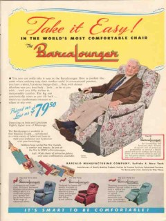 barcalo mfg company 1947 take it easy barcalounger chair vintage ad