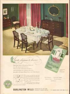 burlington mills corp 1947 invite elegance dinner fabrics vintage ad