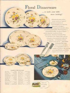 home furnishings institute 1947 floral dinnerware symphony vintage ad