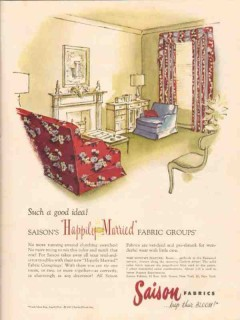charles bloom inc 1947 happily married saison fabric group vintage ad