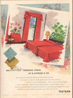textron inc 1947 b altman bermuda coral bedspread curtains vintage ad