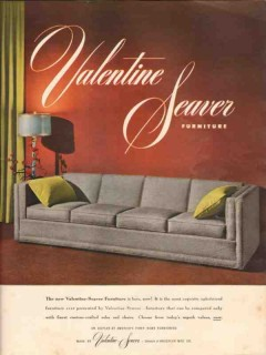kroehler mfg company 1947 valentine-seaver sofa furniture vintage ad