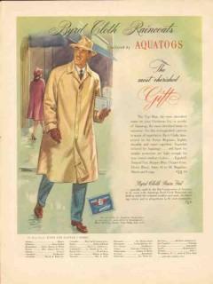 aquatogs inc 1946 byrd cloth raincoats hat cherished gift vintage ad