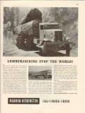 marmon-herrington 1946 lumberjacking atop the world truck vintage ad
