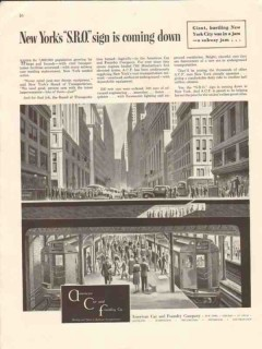 american car foundry 1946 new york sro sign subway train vintage ad