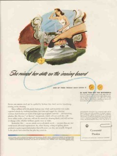 american cyanamid company 1946 ruined date on ironing board vintage ad