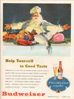 anheuser-busch 1947 help yourself good taste budweiser beer vintage ad
