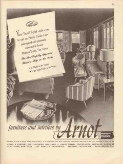 arnot company 1947 morgan yacht corsair interior furniture vintage ad