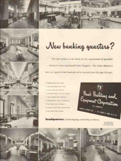 bank building equipment corp 1947 new banking quarters vintage ad