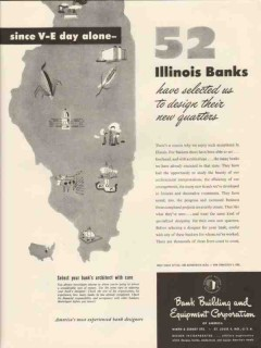 bank building equipment corp 1947 since v-e day alone vintage ad