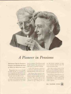 bell telephone system 1947 pioneer in pensions employees vintage ad