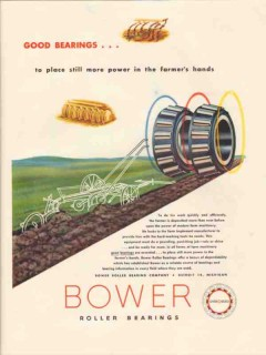 bower roller bearing company 1947 place more power farmer vintage ad