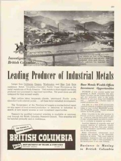 british columbia 1947 leading producer industrial metals vintage ad