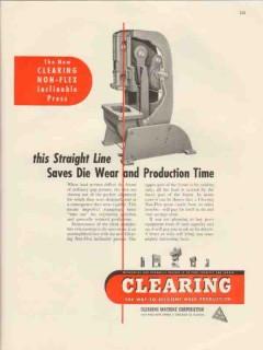 clearing machine corp 1947 straight line saves die wear vintage ad