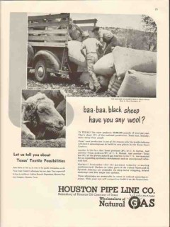 houston pipe line company 1947 black sheep any wool textile vintage ad