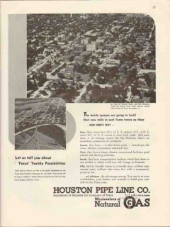 houston pipe line company 1947 victoria wharton tx textile vintage ad
