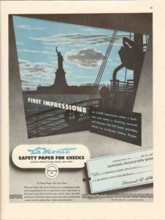 george la monte son 1947 first impressions good paper check vintage ad