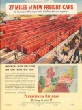 pennsylvania railroad 1947 miles of new freight cars trains vintage ad