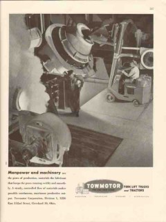 towmotor corp 1947 manpower machinery fork lift trucks vintage ad