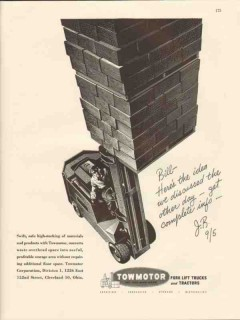 towmotor corp 1947 swift safe high-stacking fork lift truck vintage ad