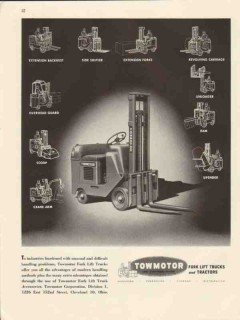 towmotor corp 1947 handling problems fork lift truck vintage ad