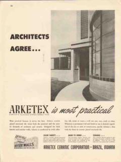 arketex ceramic corp 1947 architects agree glazed wall tile vintage ad
