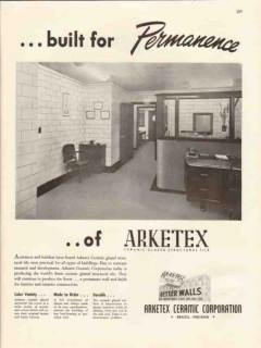 arketex ceramic corp 1947 built permanence glazed wall tile vintage ad