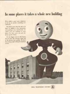 bell telephone system 1947 in some place whole new building vintage ad